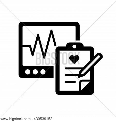 Vector Illustration Of A Health Observation With A Heart Rate Meter Or Cardiograph. Suitable For Des