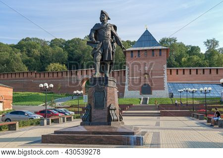 Nizhny Novgorod, Russia - August 27, 2015: Monument To The Russian Emperor Peter The Great Against T