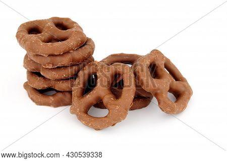 Group Of Chocolate Covered Savoury Pretzel Snacks