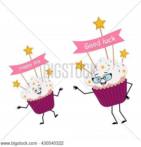 Cute Cupcake Character With Joyful Emotions, Smile Face, Happy Eyes, Arms And Legs. Sweet Food With