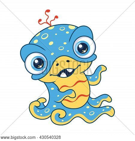 Little Blue Monster With Big Eyes And Tentacles. Cartoon Vector Illustration