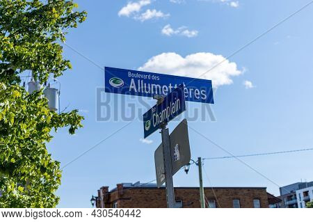 Gatineau, Canada - August 2, 2021: Allumettieres Boulevard And Champlain Street Sign In French With