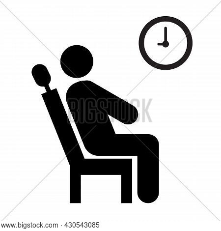 Wait Icon On White Background. Waiting Room Sign. Interview Symbol. Flat Style.