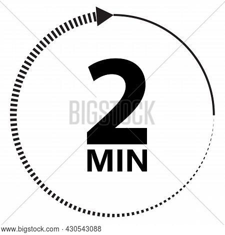 Two Minutes Icon On White Background. 2 Minutes Timer Sign. 2min Time Circle Symbol. Flat Style.