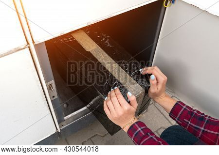 Post Locker. Delivery Automat Terminal And Hands With Parcel Courier Box. Parcel Delivery, Pickup Po