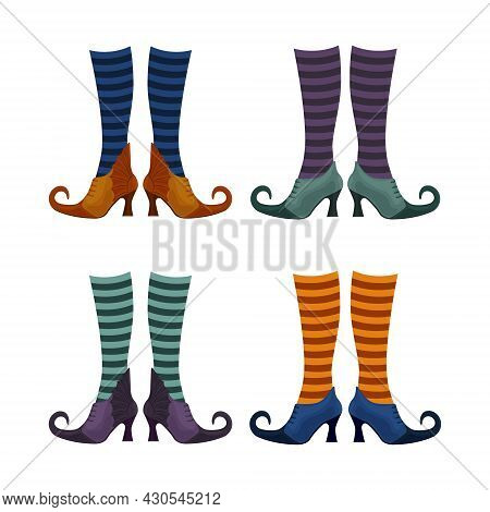 A Set With The Image Of Witch Shoes In Stockings Of Different Colors. Witch Nights In Stockings And