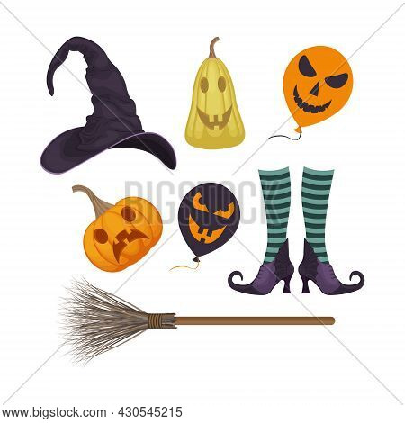 A Festive Set With Halloween Symbols Such As A Pumpkin Lantern, A Witch Broom, Witch Boots In Stocki