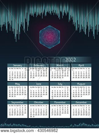 Vertical futuristic yearly calendar 2022 digital theme with hexagon, week starts on Sunday. Annual big wall calendar colorful modern illustration. A4 Us letter paper size.