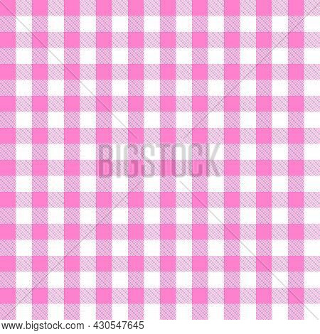 Pink And White Scotland Textile Seamless Pattern. Fabric Texture Check Tartan Plaid. Abstract Geomet