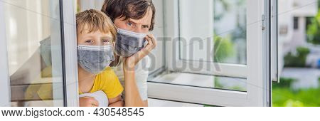 Banner, Long Format Extremly Tired Father And Son Looking Out The Window, Home Alone. Self-isolation