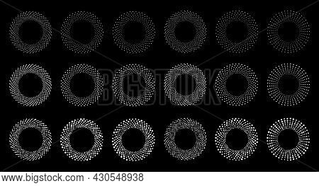 White Halftone Circular Dotted Frames Set. Circle Dots On Black Background. Logo Design Element For