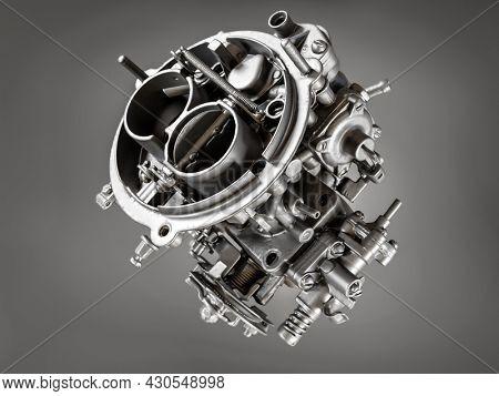 3d rendering of passenger vehicle carburetor model on grey background