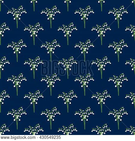 Lily Of The Valley Seamless Pattern, Spring Floral Background. Vector Illustration