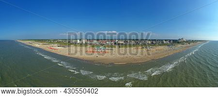 Aerial panorama from the beach at Noordwijk aan Zee in the Netherlands on a nice summer day