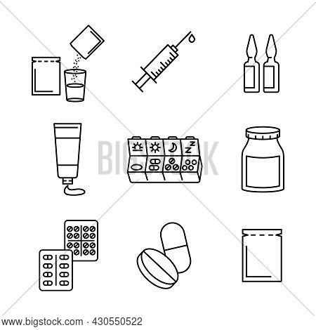 Medical Preparats Flat Icon Set. Pictogram For Web. Line Stroke. Isolated On White Background. Vecto