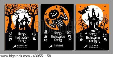 Set Of Halloween Party Posters In Black And Orange Colors. Vector Design Template Of Invitations, In