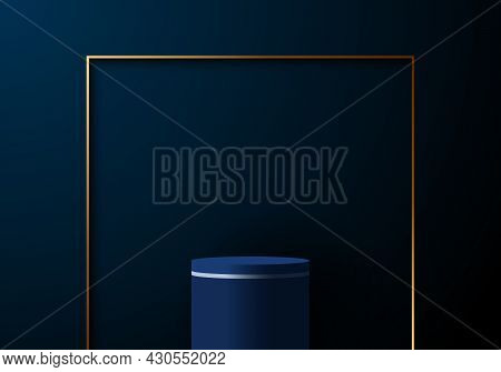 3d Realistic Elegant Blue Cylinder With Gold Square Frame On Dark Blue Background. You Can Use For P