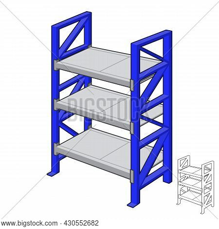 Blue Shelves Retail Rack With Line Art Drawing, Shop Supermarket, Vector Object Illustration, Cartoo