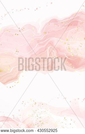 Abstract Dusty Rose Blush Liquid Watercolor Background With Gold Dots And Lines. Pastel Pink Marble