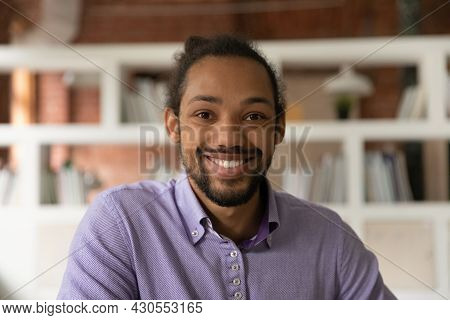 Headshot Portrait African 30s Man Smile Look At Camera