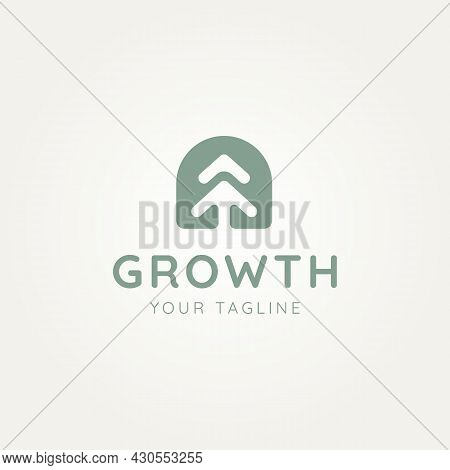 Growth Pine Tree Negative Space Style Minimalist Line Art Logo Icon Template Vector Illustration Des