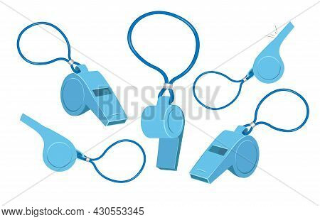 Blue Plastic Sport Referee Whistle Vector Icon Set Isolated On White Background. Flat Design Cartoon