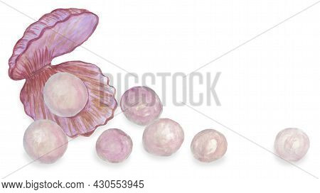 Seashell With Pearls Scattered Around. Watercolor Illustration With Copy Space