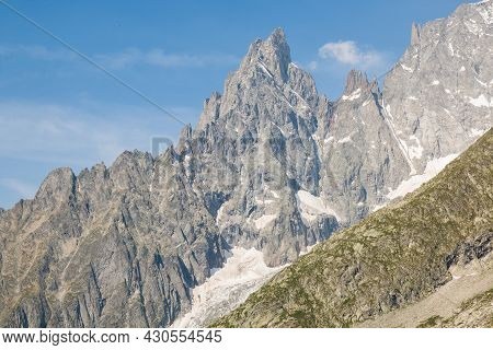 Panoramic View Of Western Alps Whit Giant's Tooth (dent Du Geant) From Helbronner Roof Of Europe In