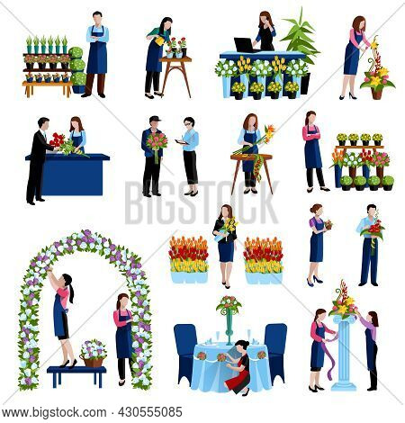 Florists Arranging Cut Flowers And Decorating Wedding Arch With Roses Flat Icons Set Abstract Isolat