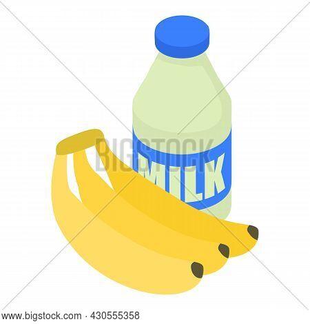 Smoothie Ingredient Icon Isometric Vector. Fresh Bottle Milk And Banana Bunch. Banana Smoothie, Milk