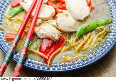 Chicken Broth With Ginger And Black Fungus Mushrooms, High Protein Wheat Noodles, Sliced Steamed Chi
