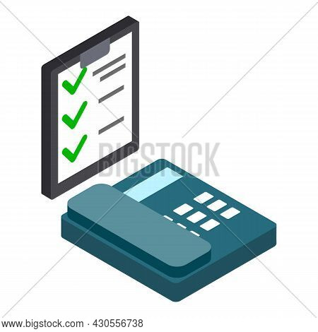 Phone Survey Icon Isometric Vector. Clipboard With Check Mark Landline Telephone. Marketing Strategy