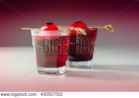 Scary Drinks Shots Made With Tequila, Grenadine And Tabasco Decorated With Jelly Eyeball, Haloween D