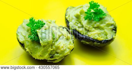 Smashed Avocado,  Smother Avocado With Lemon Juice Served On The For Brunch
