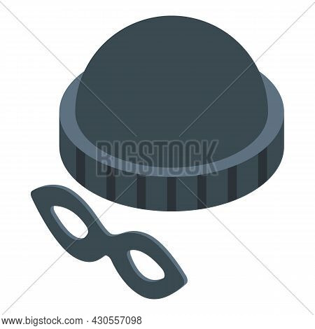 Incognito Hat Mask Icon Isometric Vector. Spy Thief. Robber Identity