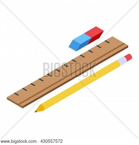 School Pen, Ruler, Eraser Icon Isometric Vector. Pencil Rubber. Drawing Erase