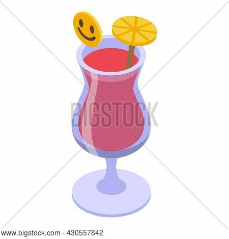 Summer Cocktail Icon Isometric Vector. Drink Glass. Party Mojito