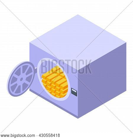 Gold Bank Reserve Safe Icon Isometric Vector. Money Finance. Rich Payment