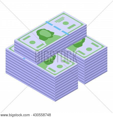 Dollar Cash Stack Icon Isometric Vector. Money Pile. Bank Currency