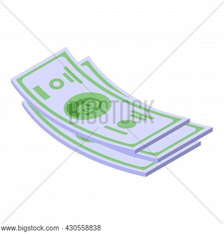 Cash Dollar Papers Icon Isometric Vector. Currency Pile. Bank Stack