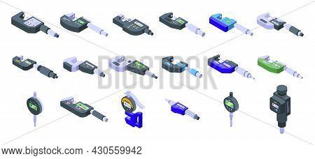 Digital Micrometer Icons Set Isometric Vector. Ruler Caliper. Centimeter Device