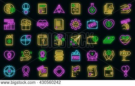 Charitable Giving Icons Set. Outline Set Of Charitable Giving Vector Icons Neon Color On Black