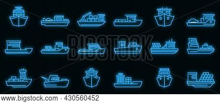 Ferry Icons Set. Outline Set Of Ferry Vector Icons Neon Color On Black
