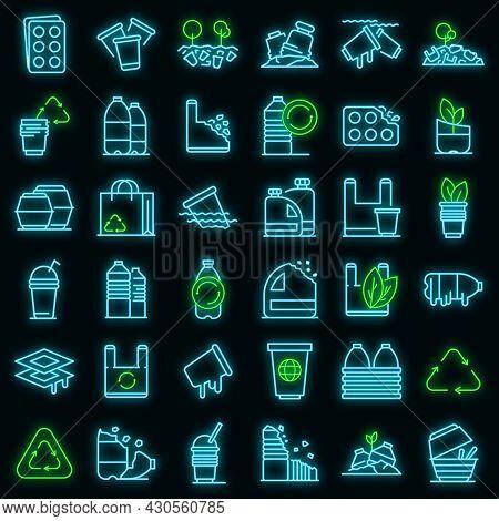 Biodegradable Plastic Icons Set. Outline Set Of Biodegradable Plastic Vector Icons Neon Color On Bla