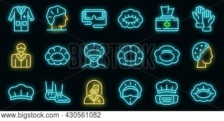Hair Cover Icons Set. Outline Set Of Hair Cover Vector Icons Neon Color On Black