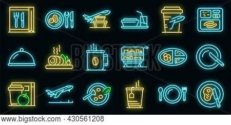 Airline Food Icons Set. Outline Set Of Airline Food Vector Icons Neon Color On Black