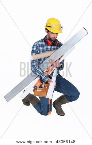 Worker with his hands full