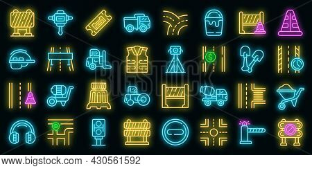 Highway Construction Icons Set. Outline Set Of Highway Construction Vector Icons Neon Color On Black