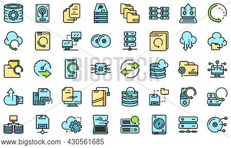 Backups Icons Set. Outline Set Of Backups Vector Icons Thin Line Color Flat On White
