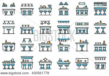Bar Counter Icons Set. Outline Set Of Bar Counter Vector Icons Thin Line Color Flat On White